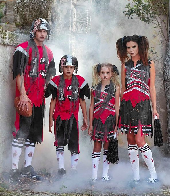 High Quality Matching Family Halloween Zombie Football Player and Cheerleader Costumes