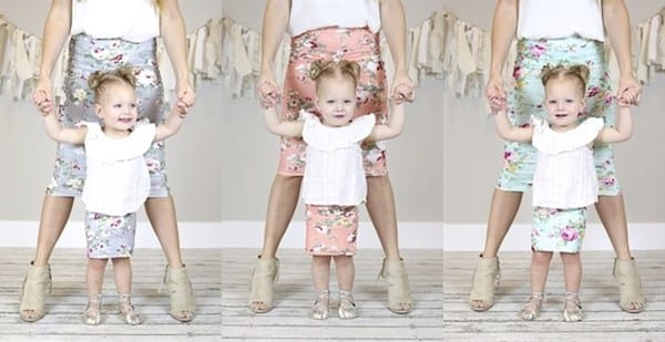 Mother Daughter Matching Floral Pencil Skirts
