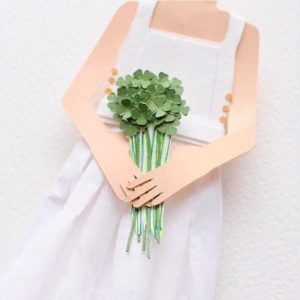 Paper Art Girl with Green Bouquet