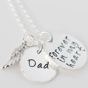 Hand Stamped Memorial Jewelry -Dad Forever in My Heart Necklace