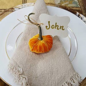 Mini Velvet Pumpkin Place Card Holders
