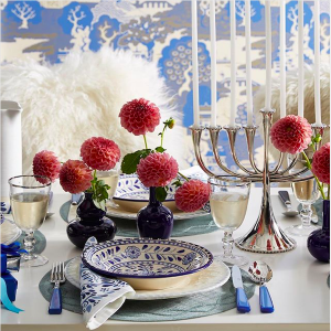 Hanukkah Table with Blue Dinnerware